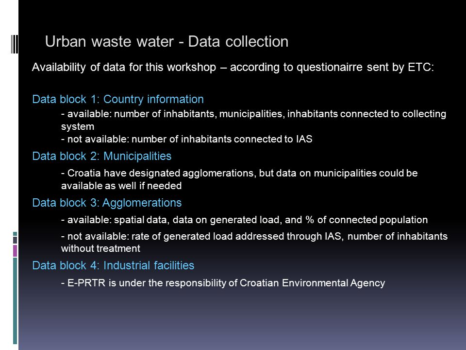 Urban waste water - Data collection