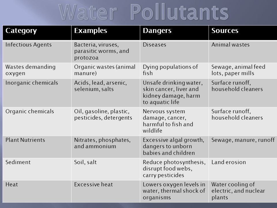 Water Pollutants Category Examples Dangers Sources Infectious Agents