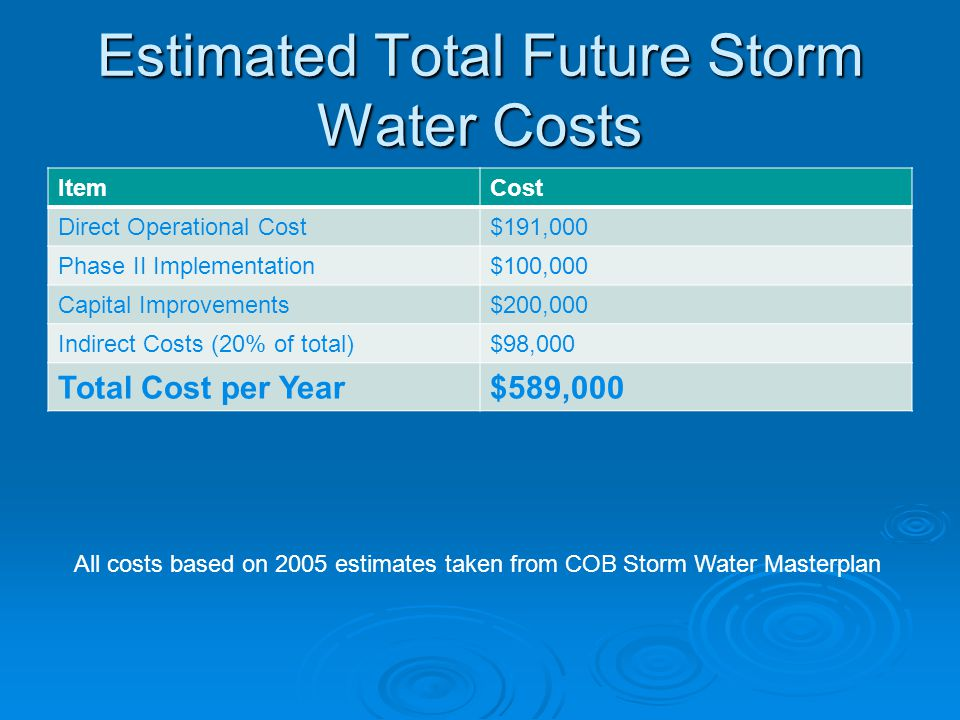 Estimated Total Future Storm Water Costs
