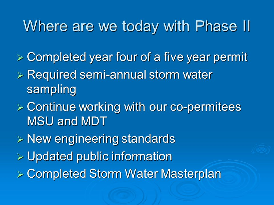 Where are we today with Phase II