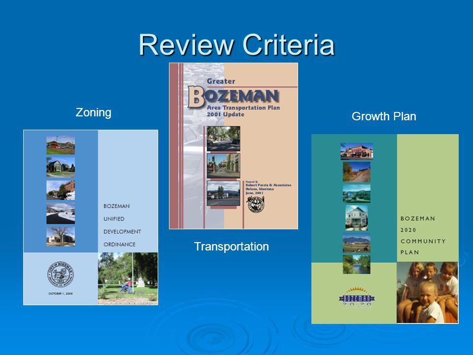 Review Criteria Zoning Growth Plan Transportation