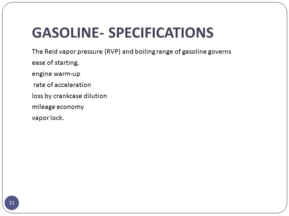 GASOLINE- SPECIFICATIONS