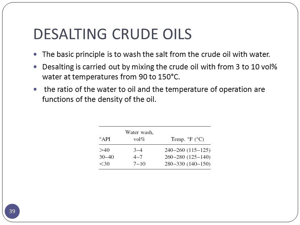DESALTING CRUDE OILS The basic principle is to wash the salt from the crude oil with water.