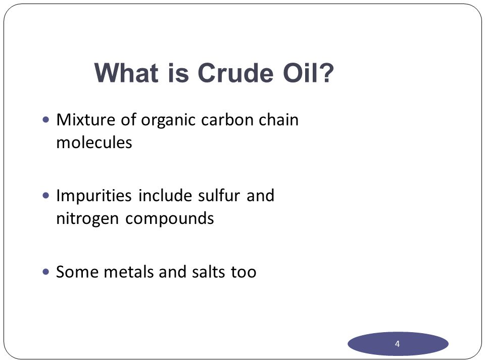 What is Crude Oil Mixture of organic carbon chain molecules