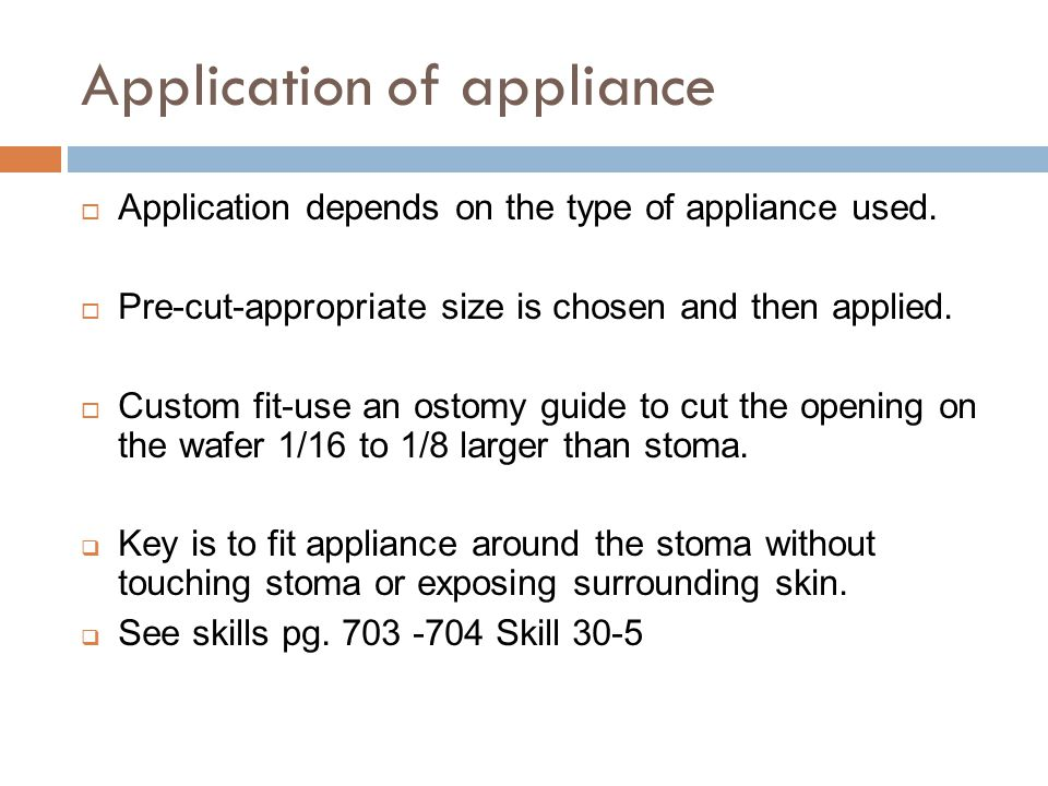 Application of appliance