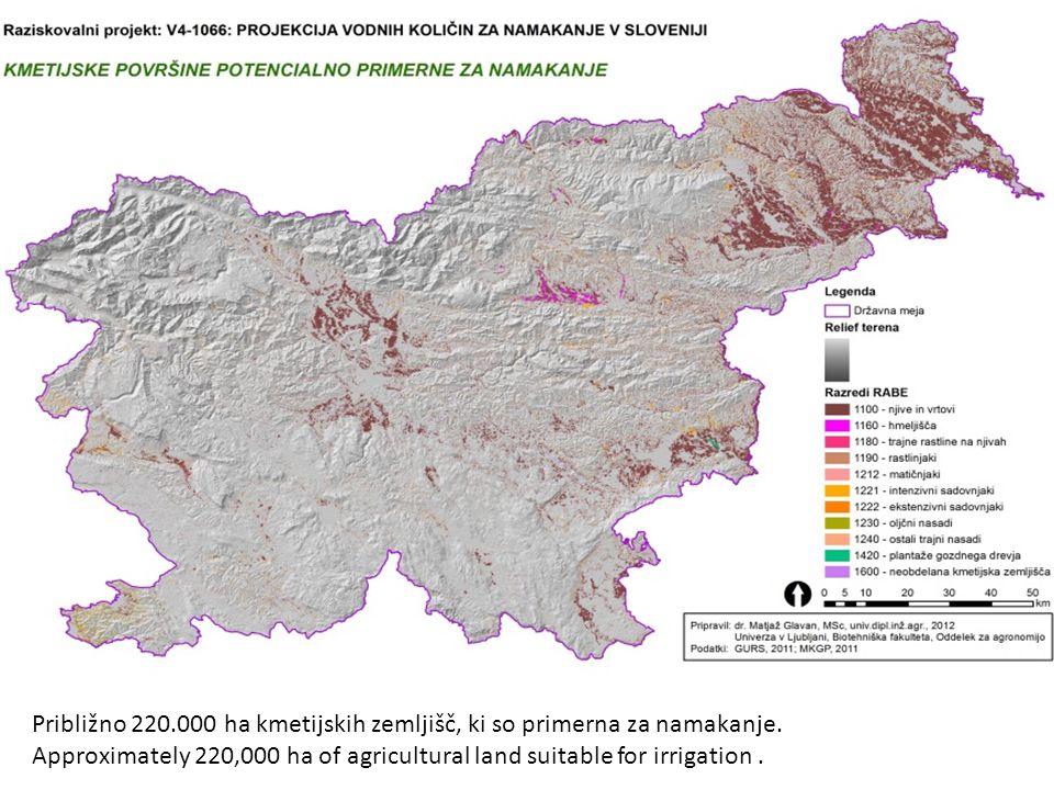 Približno 220.000 ha kmetijskih zemljišč, ki so primerna za namakanje.