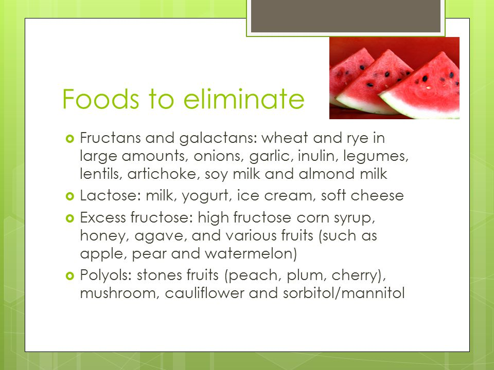 Foods to eliminate