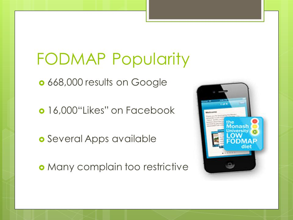 FODMAP Popularity 668,000 results on Google 16,000 Likes on Facebook