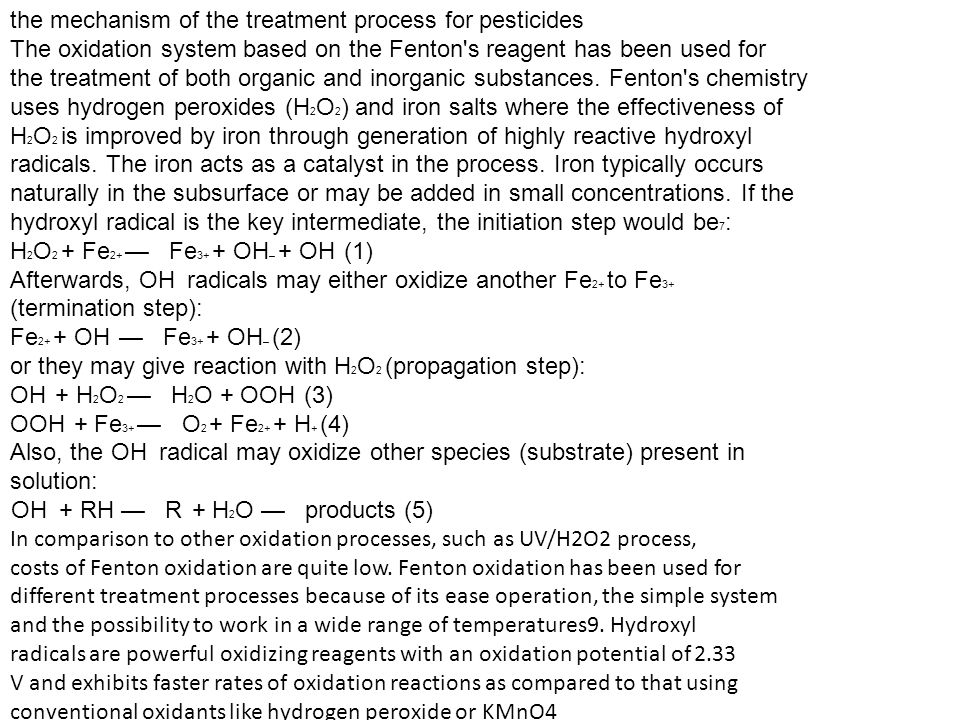 the mechanism of the treatment process for pesticides