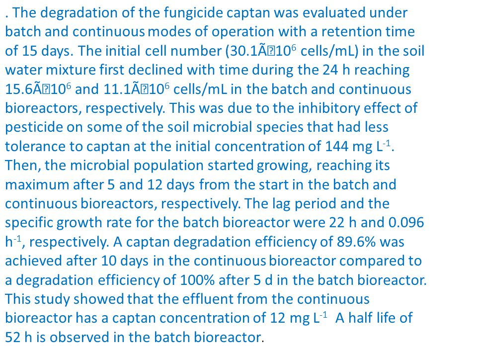 The degradation of the fungicide captan was evaluated under batch and continuous modes of operation with a retention time of 15 days.