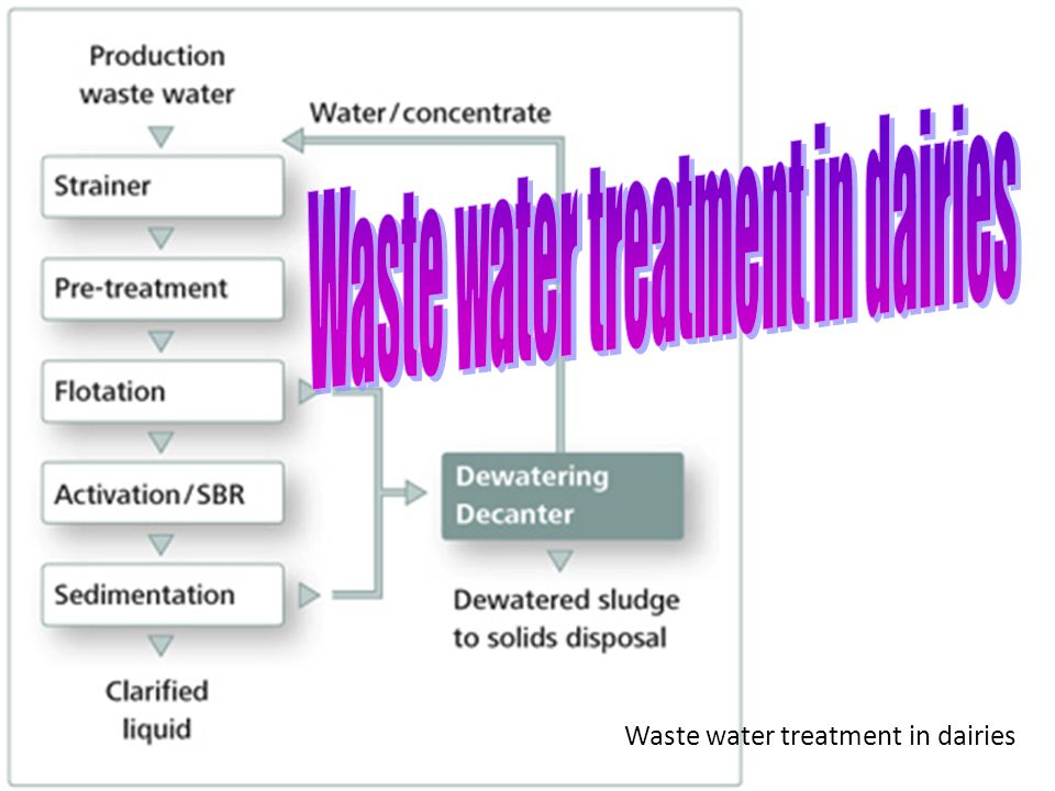 Waste water treatment in dairies