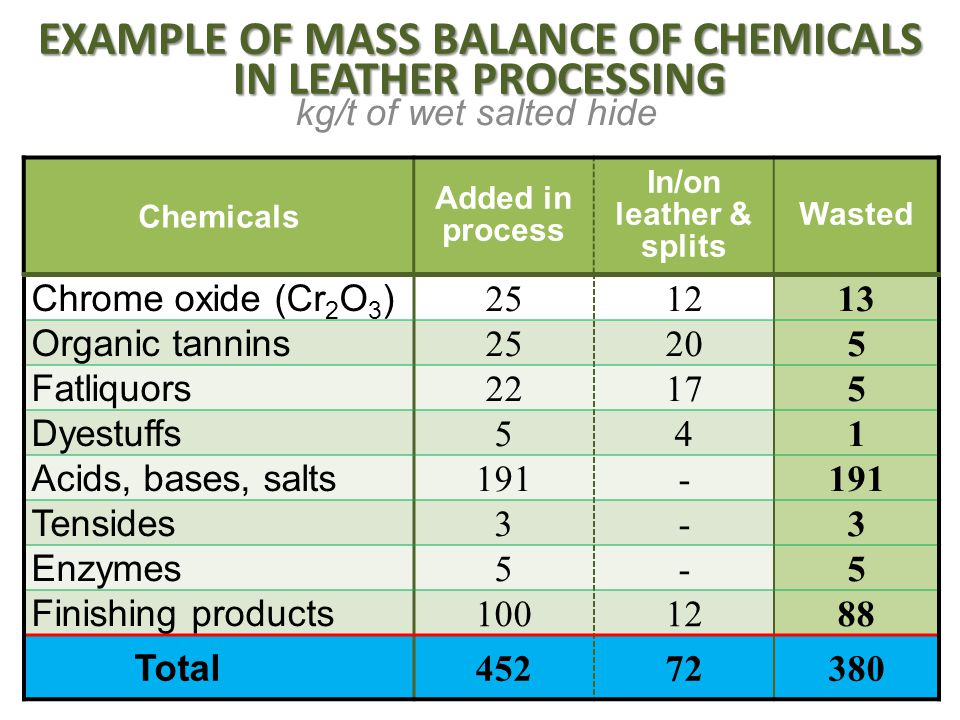 EXAMPLE OF MASS BALANCE OF CHEMICALS IN LEATHER PROCESSING