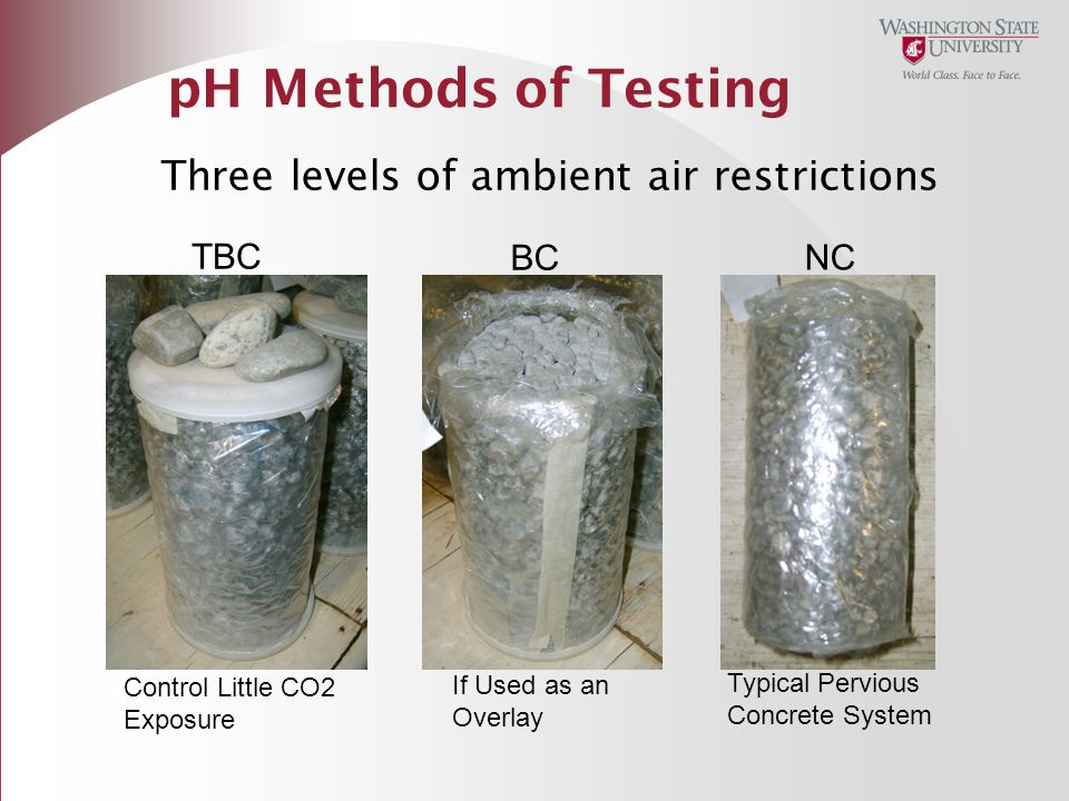 pH Methods of Testing Three levels of ambient air restrictions TBC BC