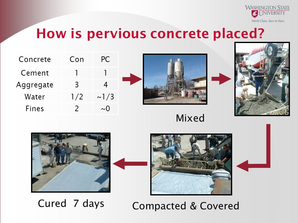How is pervious concrete placed
