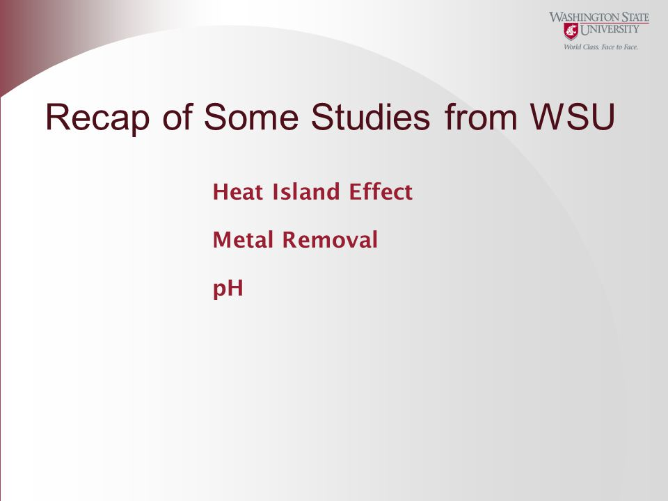 Heat Island Effect Metal Removal pH