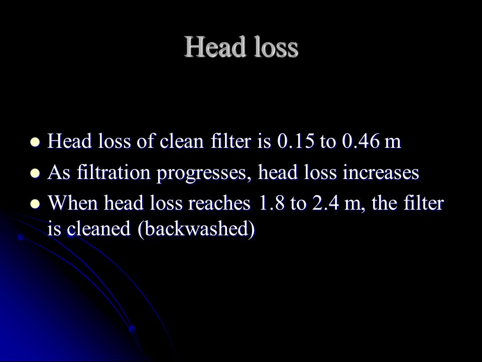 Head loss Head loss of clean filter is 0.15 to 0.46 m