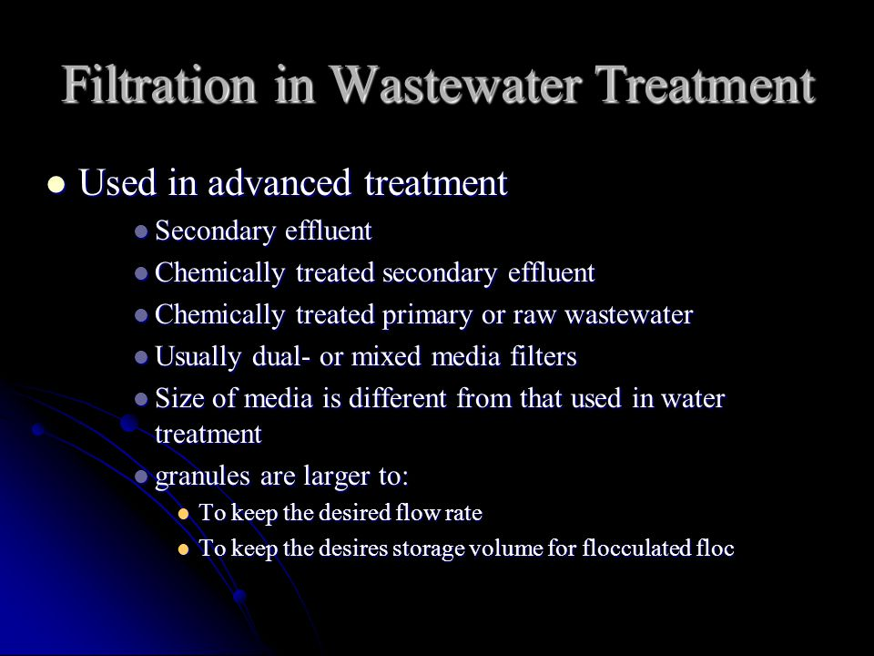 Filtration in Wastewater Treatment