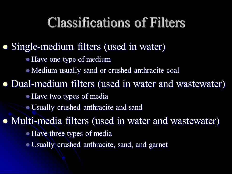 Classifications of Filters