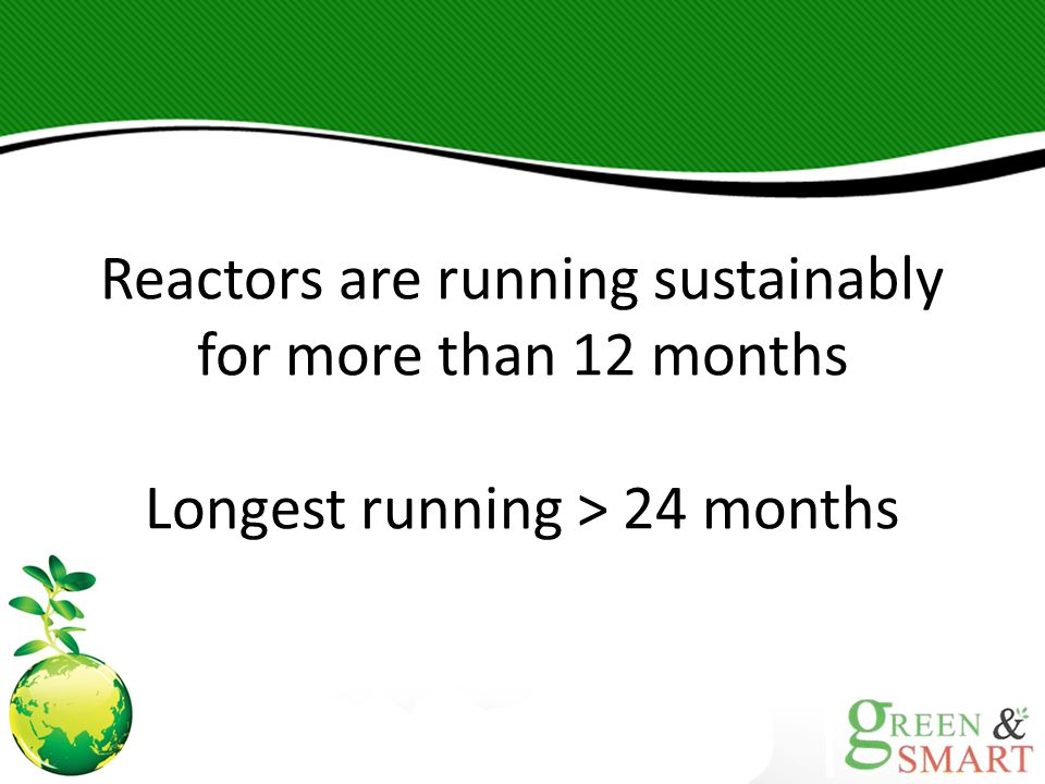 Reactors are running sustainably for more than 12 months
