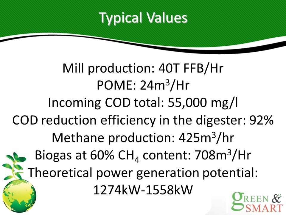 Typical Values Mill production: 40T FFB/Hr POME: 24m3/Hr Incoming COD total: 55,000 mg/l. COD reduction efficiency in the digester: 92%