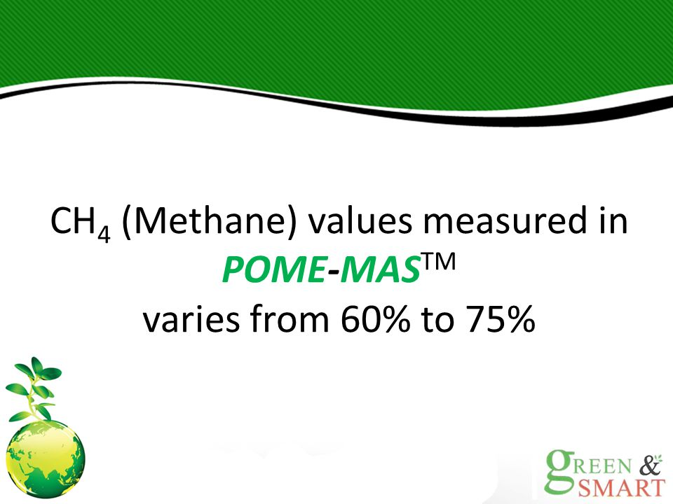 CH4 (Methane) values measured in POME-MASTM varies from 60% to 75%