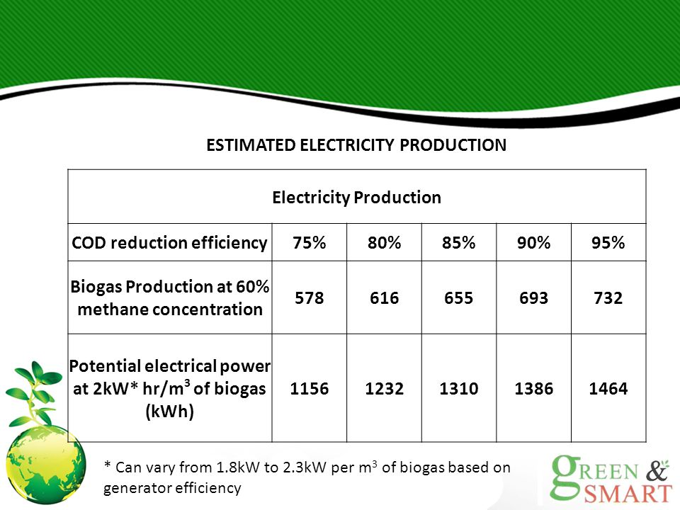 ESTIMATED ELECTRICITY PRODUCTION Electricity Production