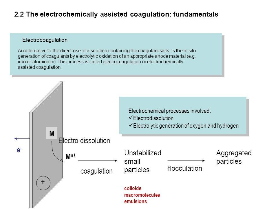 M Electro-dissolution e- Mn+ coagulation +