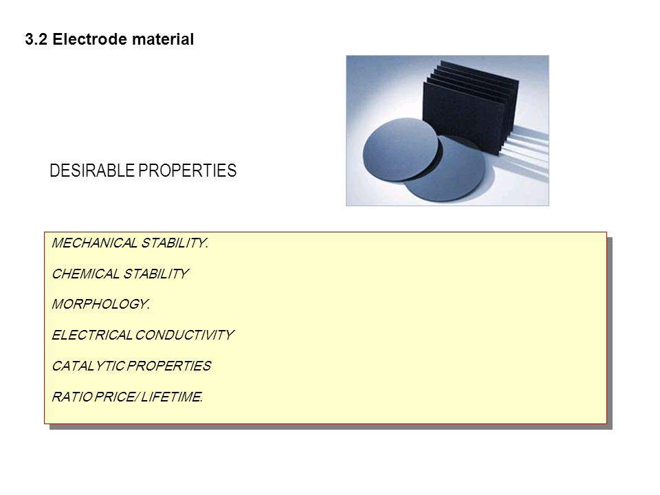 DESIRABLE PROPERTIES 3.2 Electrode material MECHANICAL STABILITY.