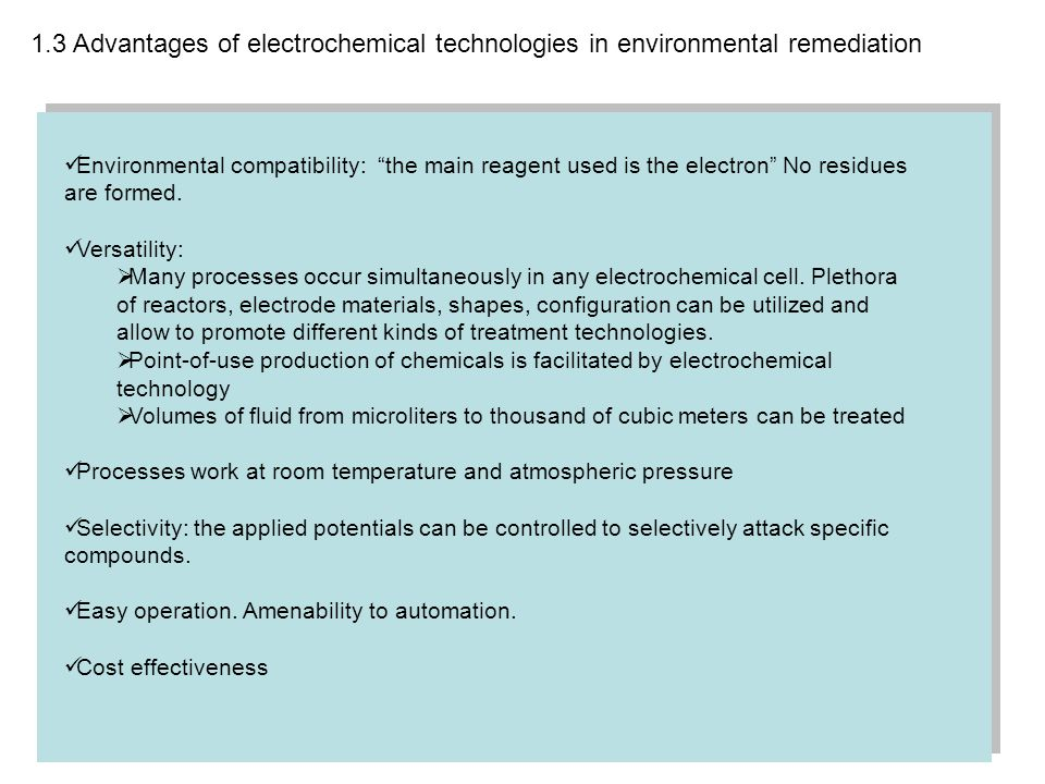 1.3 Advantages of electrochemical technologies in environmental remediation