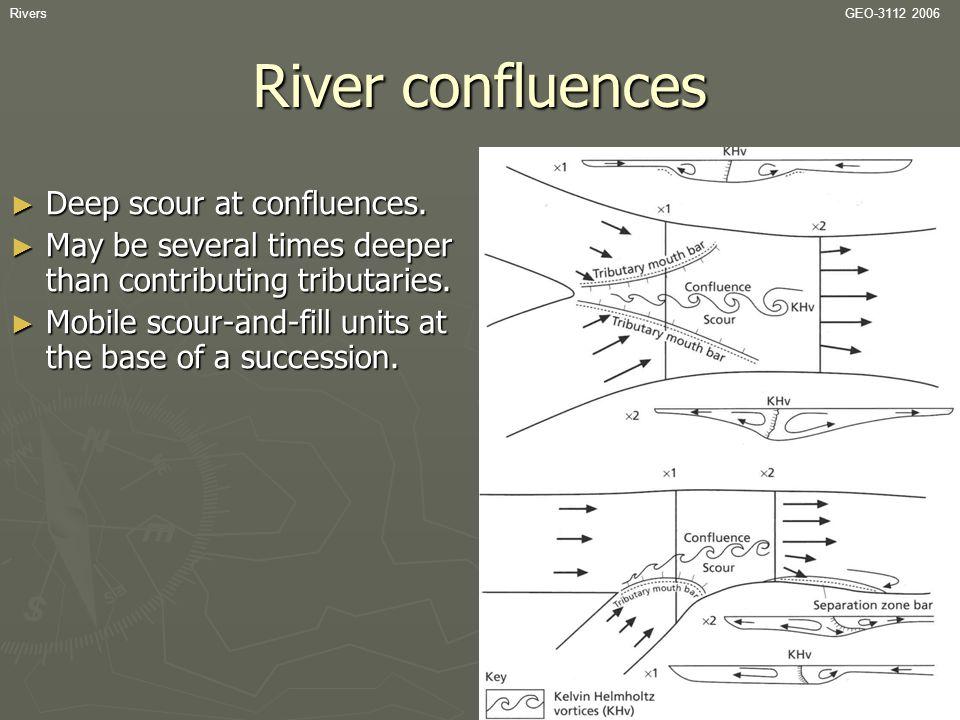 River confluences Deep scour at confluences.
