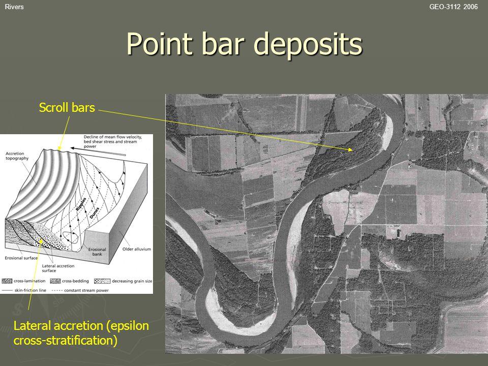 Point bar deposits Scroll bars