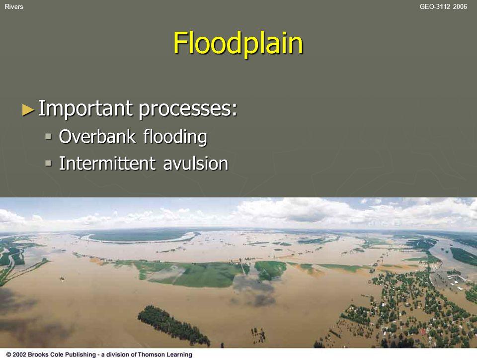 Floodplain Important processes: Overbank flooding