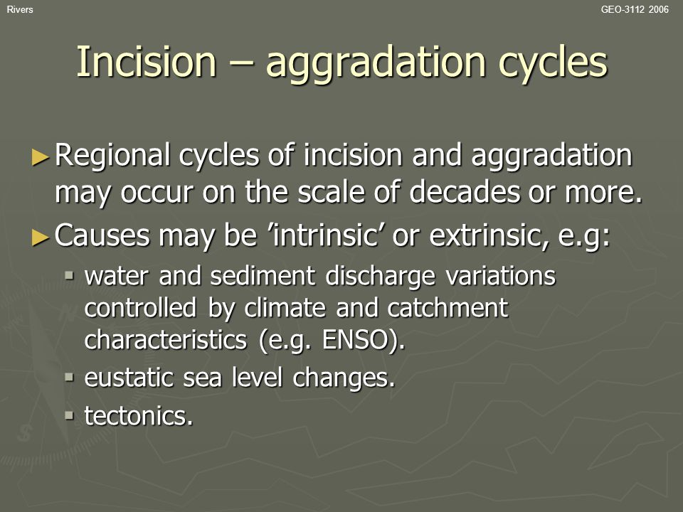 Incision – aggradation cycles