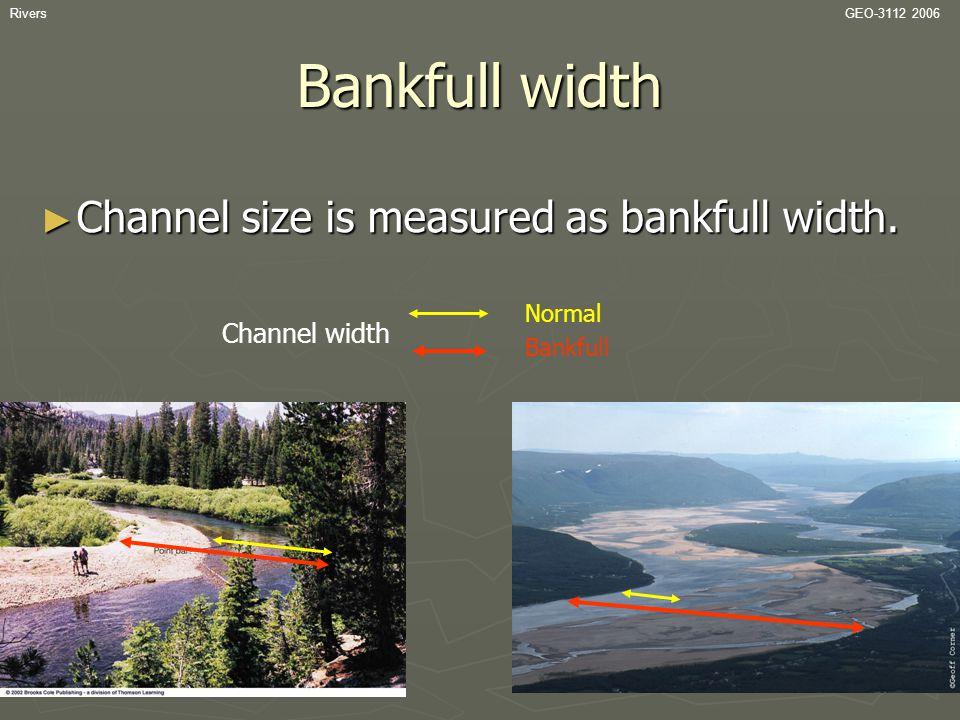 Bankfull width Channel size is measured as bankfull width.