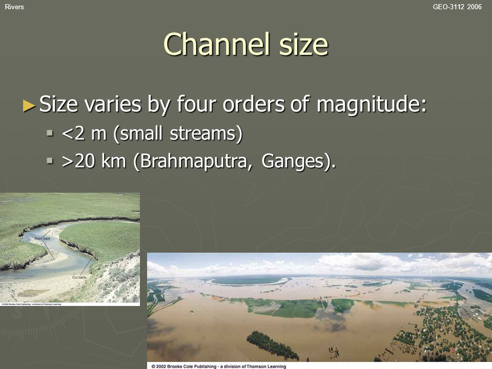 Channel size Size varies by four orders of magnitude: