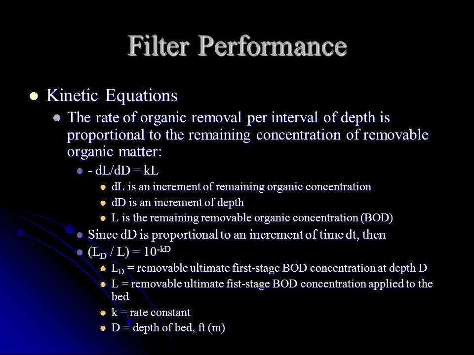 Filter Performance Kinetic Equations
