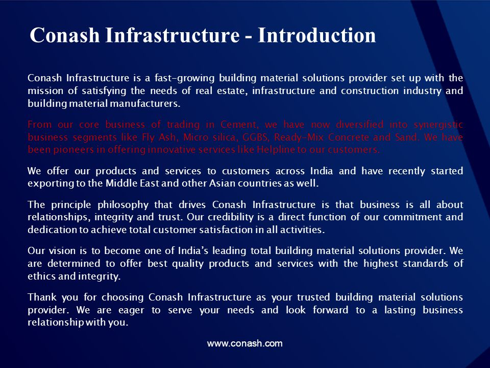 Conash Infrastructure - Introduction
