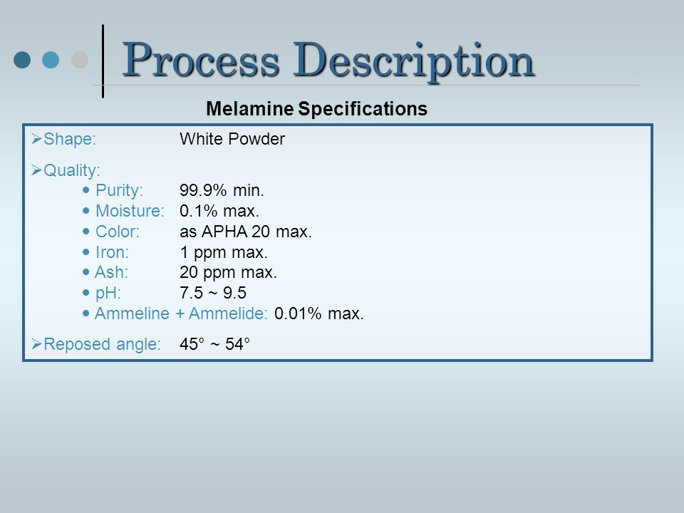 Melamine Specifications
