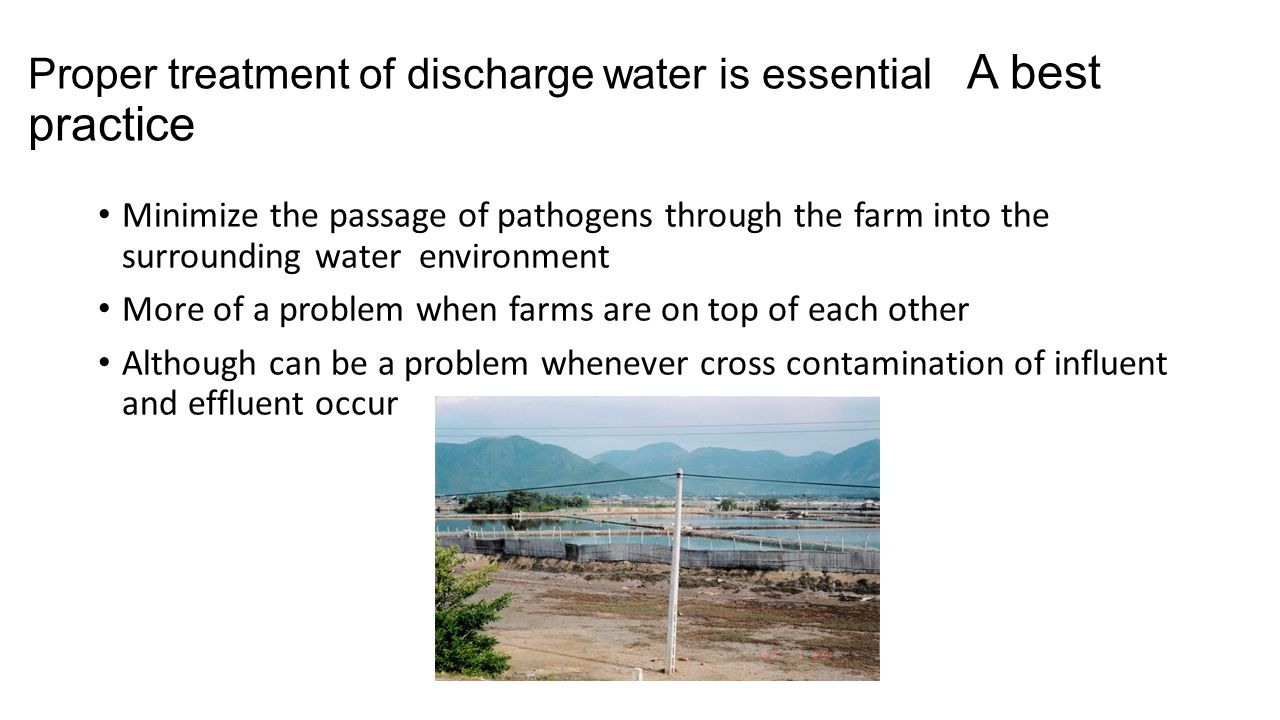 Proper treatment of discharge water is essential A best practice
