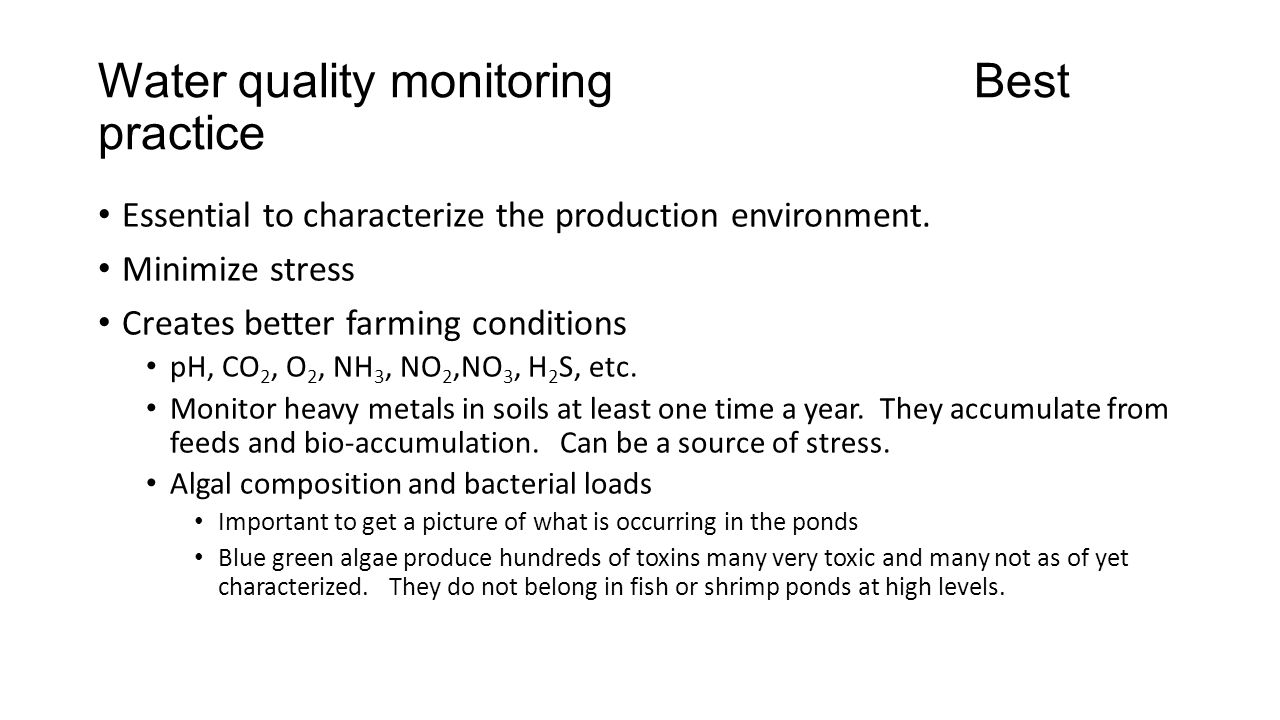 Water quality monitoring Best practice