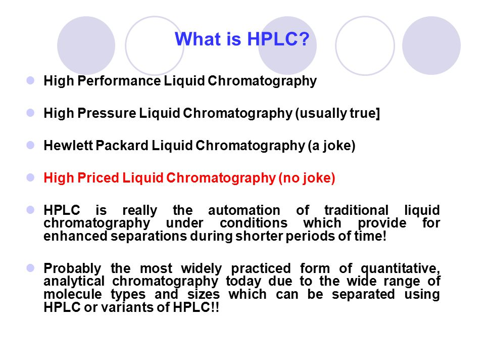 What is HPLC High Performance Liquid Chromatography