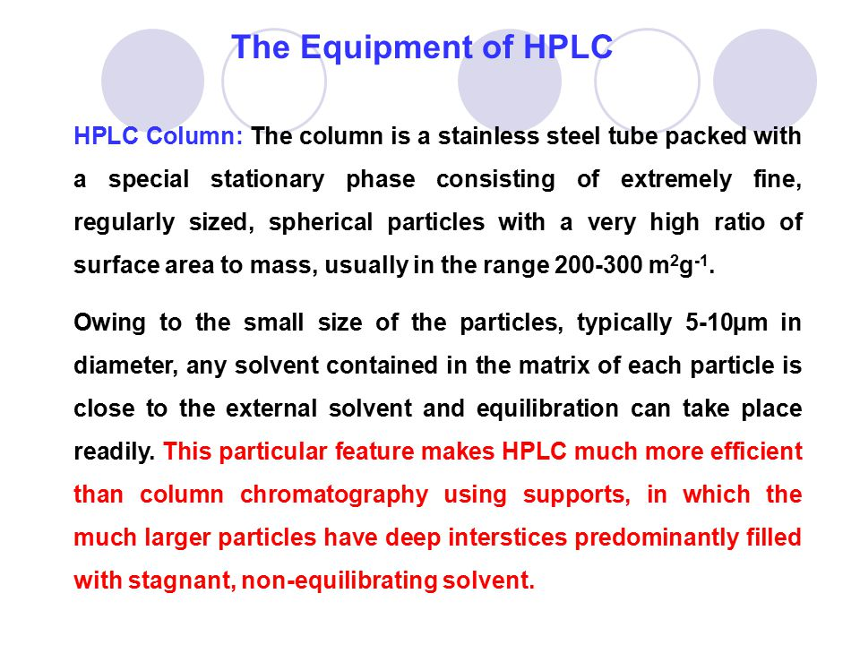 The Equipment of HPLC
