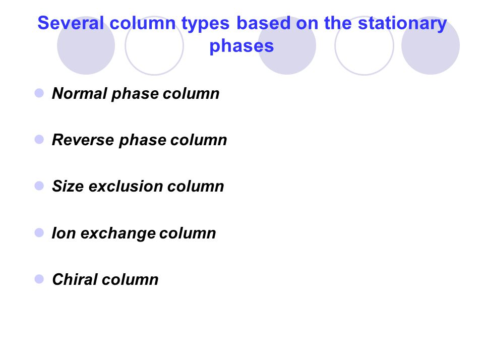 Several column types based on the stationary phases