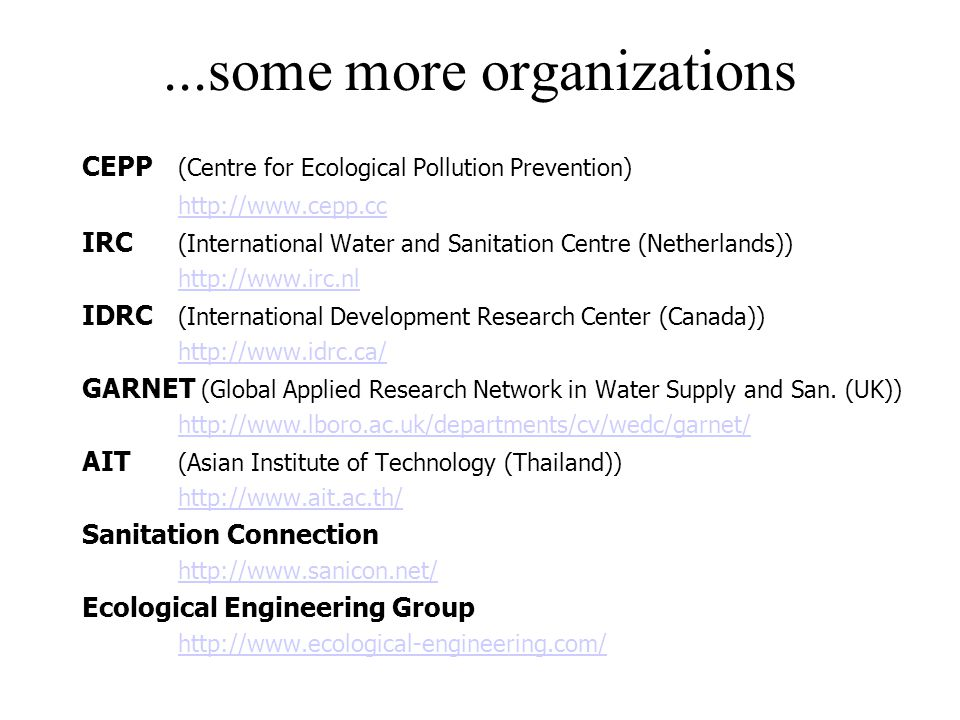 ...some more organizations