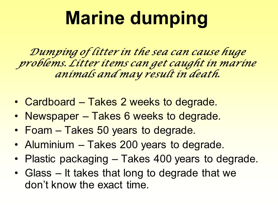 Marine dumping Dumping of litter in the sea can cause huge problems