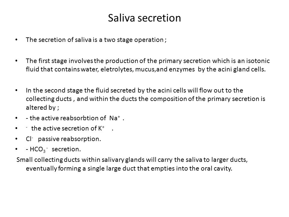 Saliva secretion The secretion of saliva is a two stage operation ;