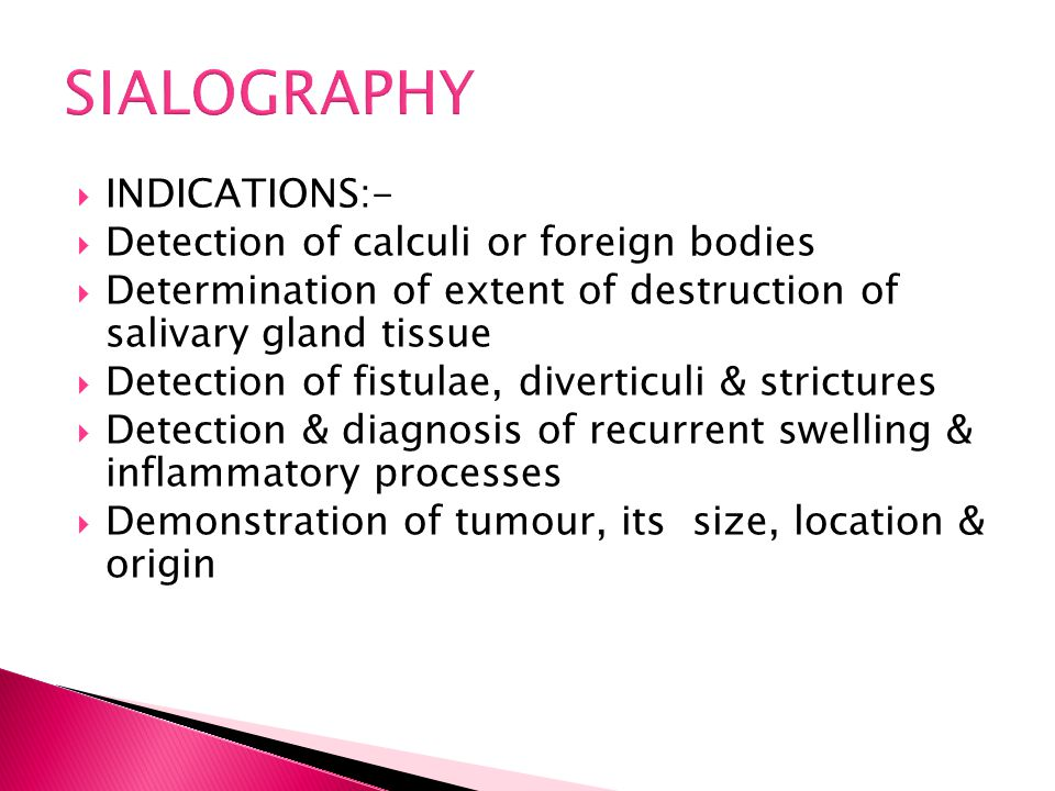 SIALOGRAPHY INDICATIONS:- Detection of calculi or foreign bodies