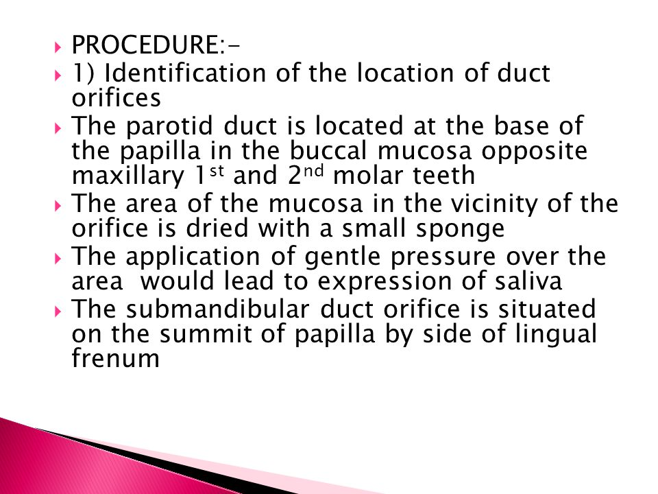 PROCEDURE:- 1) Identification of the location of duct orifices.