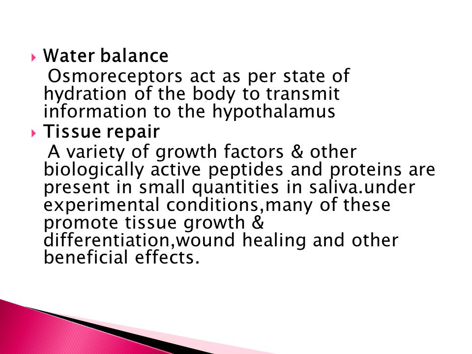 Water balance Osmoreceptors act as per state of hydration of the body to transmit information to the hypothalamus.