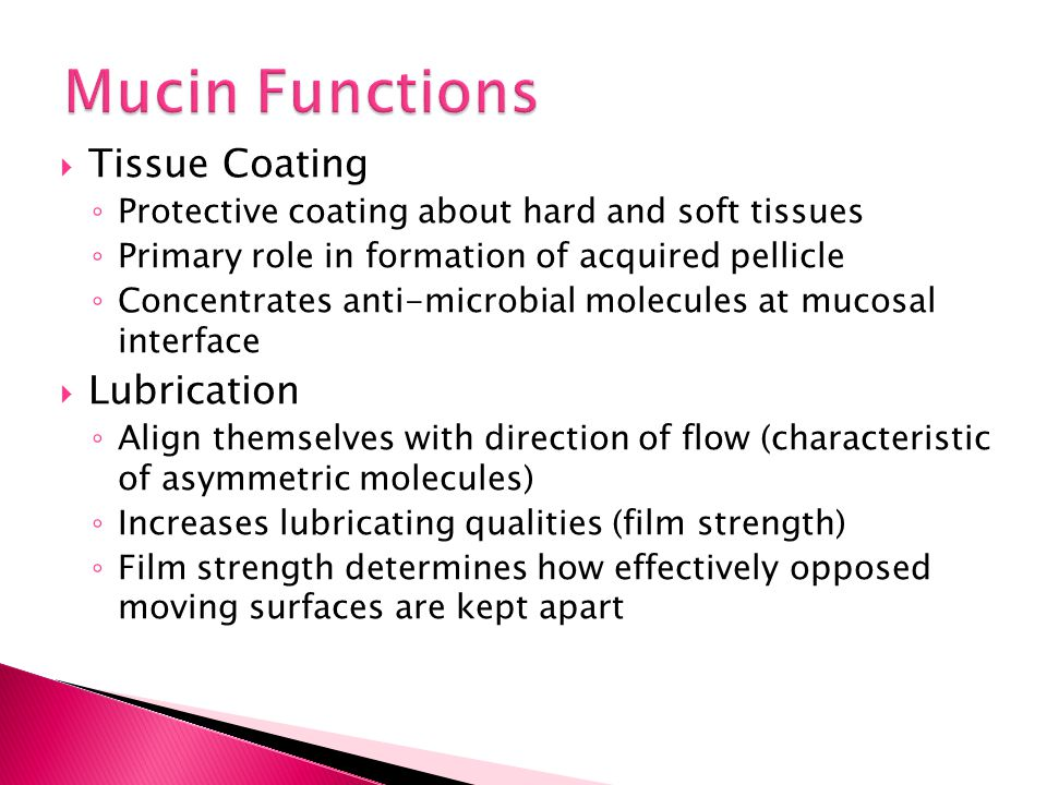 Mucin Functions Tissue Coating Lubrication